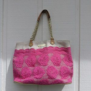 Betsy Johnson Pink Lace Tote